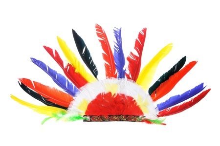 Red Indian Party Headgear on White Background photo