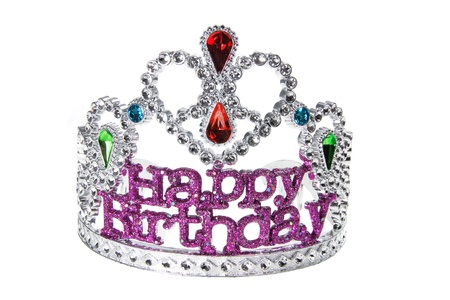 best party: Birthday Crown on White Background Stock Photo
