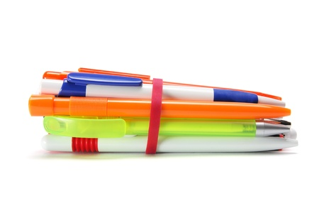 rubberband: A Bunch of Ball Pens on White Background