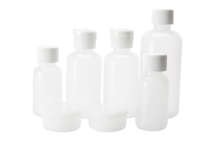 Plastic Bottles on White Background photo
