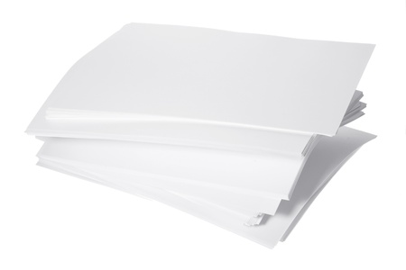 white sheet: Stack of Paper on White Background Stock Photo
