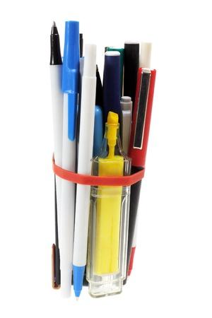 Bundle of Pens on White Background photo