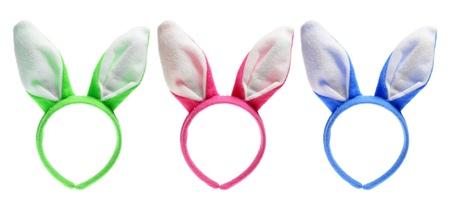 bunny ears: Orejas de conejo de Pascua sobre fondo blanco Foto de archivo