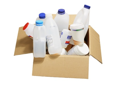 Plastic Containers in Cardboard Box Stock Photo - 9457331