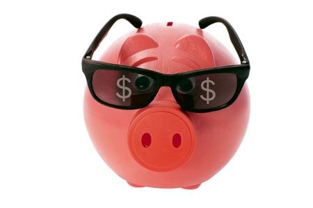 sunnies: Piggybank with Sunglasses on White Background
