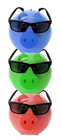 sunnies: Piggy Banks on White Background Stock Photo