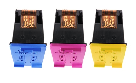 Colour Ink Cartridges on White Background photo