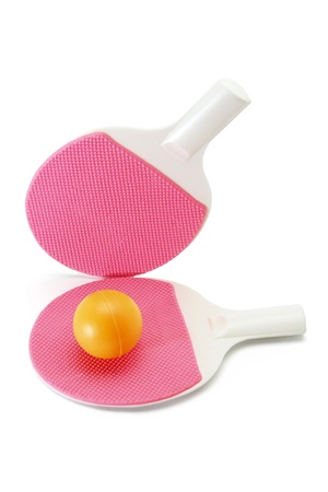 Table Tennis Bats and Ball on White Background Stock Photo - 9582699