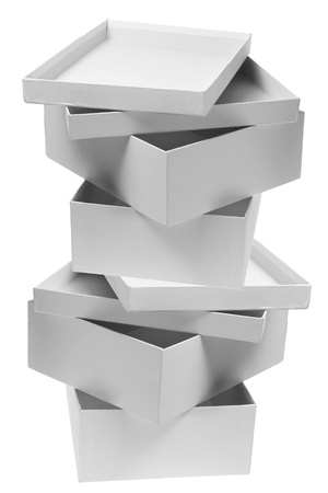 Stack of Empty Boxes on White Background photo