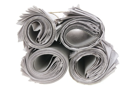 Rolls of Newspapers on White Background Stock Photo - 9582733