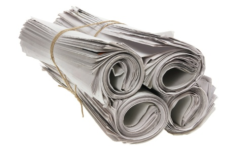 Rolls of Newspapers on White Background Stock Photo - 9582732