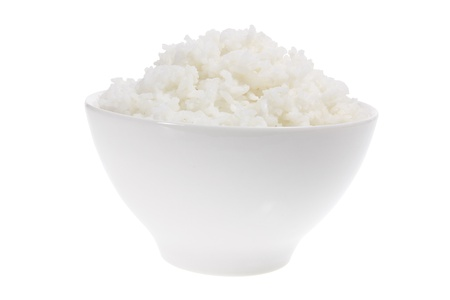 steamed: Bowl of Rice on White Background