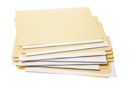 arquivos: Stack of Manila Folders on White Background
