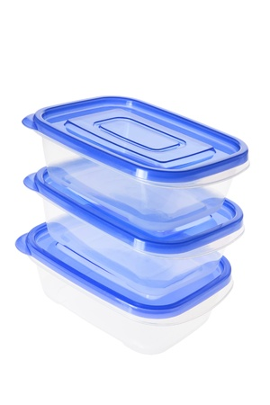 homeware: Stack of Plastic Containers on White Background