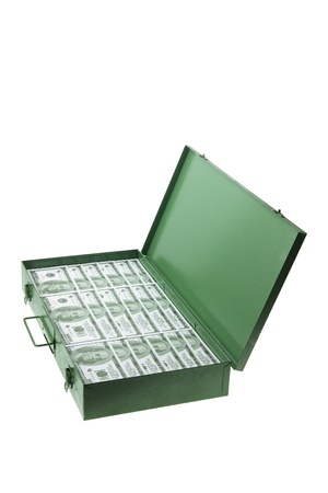 Case of Banknotes on White Background photo