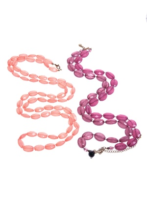 Necklaces on Isolated White Background Stock Photo - 9660738