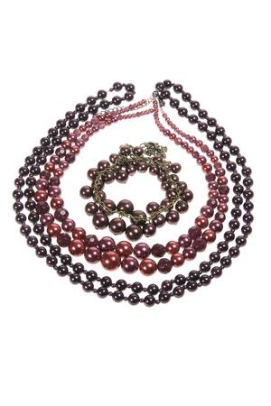 Necklaces on Isolated White Background Stock Photo - 9660802