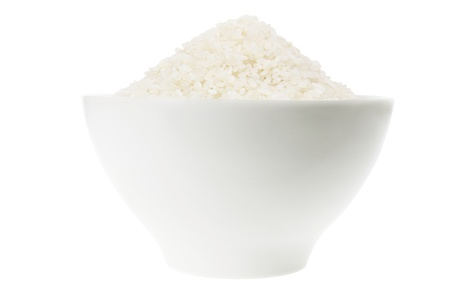 Bowl of Rice on White Background Stock Photo - 9660686