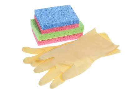 Rubber Gloves and Sponges on White Background Stock Photo - 9705993