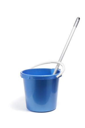 Mop in Bucket on White Background photo