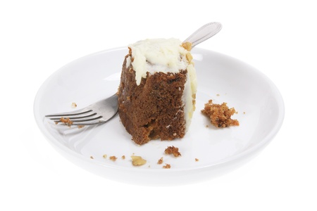 Carrot Cake on Plate on White Background Stock Photo - 9705594