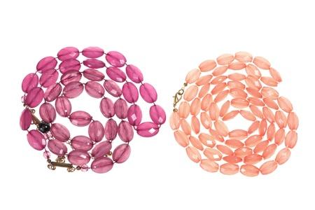 Necklaces on Isolated White Background Stock Photo - 9705609