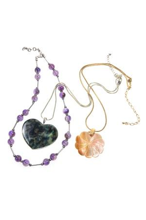Necklaces on Isolated White Background Stock Photo - 9705601