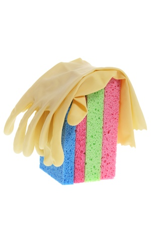 Rubber Gloves and Sponges on White Background photo