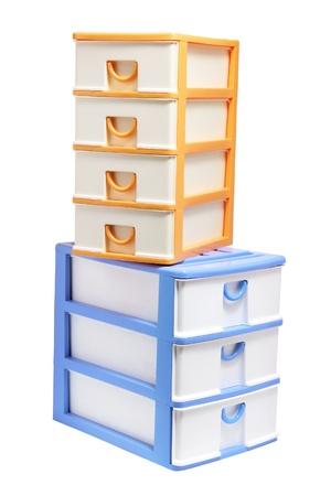 Plastic Storage Drawers on White Background Stock Photo - 9737584