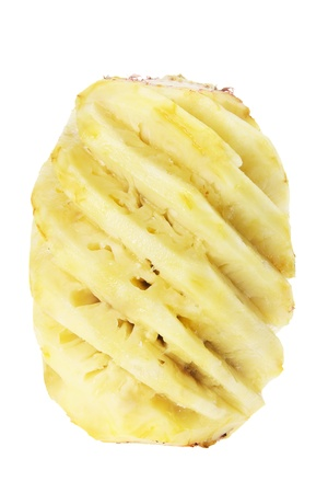 Skinned Pineapple on White Background photo