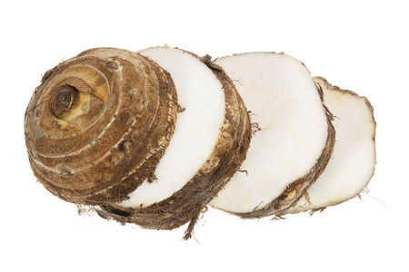 tuber vegetables: Slices of Taro Root on White Background