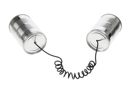 Tin pouvez téléphoner sur fond blanc Banque d'images