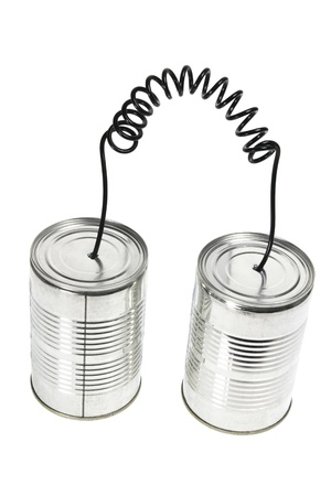 Tin Can Telephone on White Background Stock Photo - 9764735