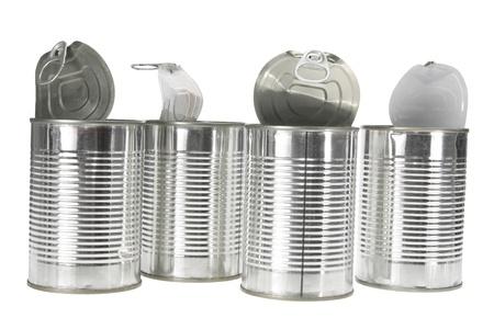 Tin Cans on White Background Stock Photo - 9764874