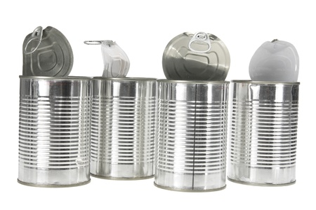 tin cans: Tin Cans op witte achtergrond