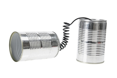 Tin Can Telephone on White Background photo