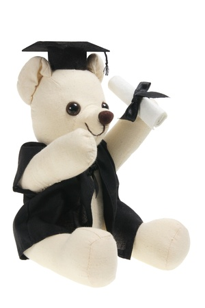 Graduation Teddy Bear on White Background  photo