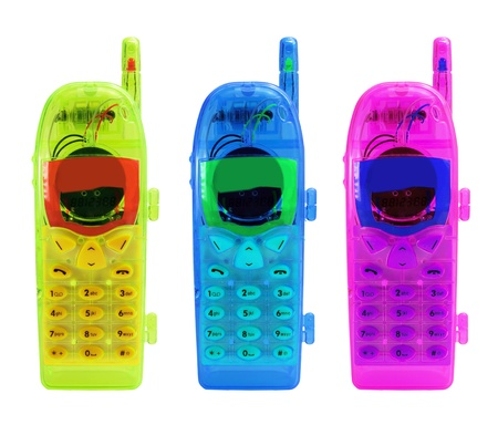 Toy Mobile Phones on White Background Stock Photo - 9842423