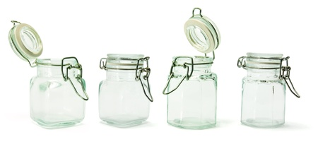 homeware: Glass Jars on White Background