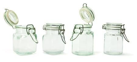 bocaux en verre: Verre Jarres sur fond blanc