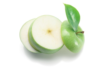 Slices of Granny Smith Apple on White Background Stock Photo - 9953574