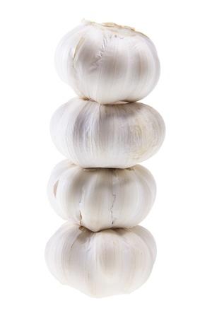 Stack of Garlic on White Background photo