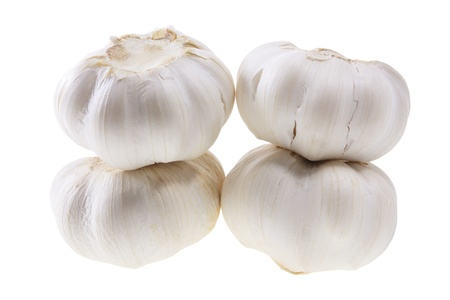 breadth: Stack of Garlic on White Background Stock Photo
