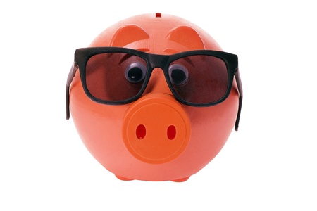 sunnies: Piggy Bank with Sunglasses on White Background