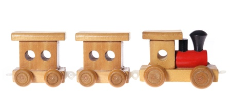 pull toy: Tren de juguete de madera sobre fondo blanco