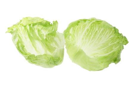 crisp: Iceberg Lettuce on White Background