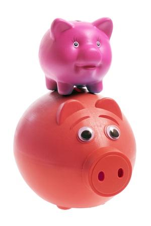 frugality: Piggy Banks on White Background Stock Photo