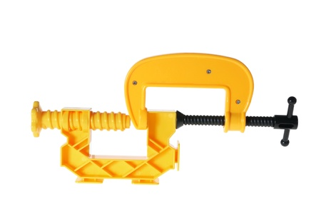 clamps: Toy Plastic Clamps on White Background