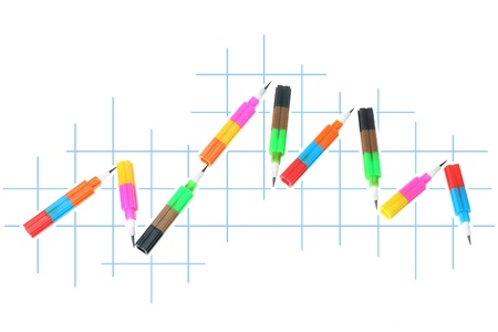 writing implements: Plastic Pencils on White Background
