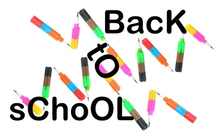 writing implements: Back to School Concept on White Background